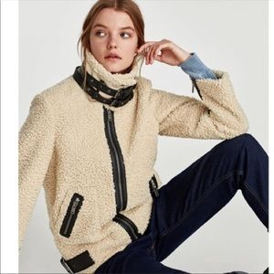 ISO!!! Zara Teddy Faux Fur Contrasting Moto Jacket